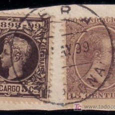 Sellos: ESPAÑA. (CAT. 219, 240). S. FRAG. 15 C. PELÓN Y 5 C. I. DE GUERRA. MAT. DE * VERA/PAMPLONA *.M. BTO. Lote 22613213