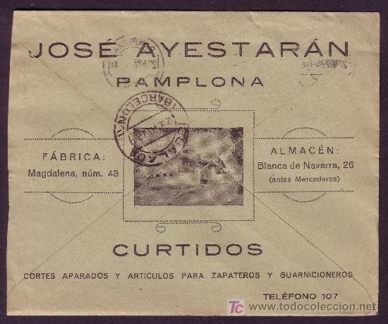 ESPAÑA. (CAT. 317).1924. SOBRE DE PUBLICIDAD AL DORSO DE PAMPLONA. MAT. RODILLO. MAGNÍFICO.MUY RARO. (Sellos - España - Alfonso XIII de 1.886 a 1.931 - Cartas)