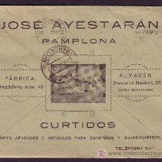 Sellos: ESPAÑA. (CAT. 317).1924. SOBRE DE PUBLICIDAD AL DORSO DE PAMPLONA. MAT. RODILLO. MAGNÍFICO.MUY RARO.. Lote 25677310