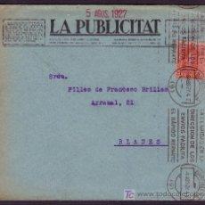 Sellos: ESPAÑA. (CAT. 317A). 1927. SOBRE DE BARCELONA. 25 CTS. VAQUER. MAT. RODILLO INFORMATIVO DE CORREOS.. Lote 23141486