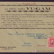 Sellos: ESPAÑA. (CAT. 317A). 1929. SOBRE PUBLICIDAD DE VILASAR DE MAR (BARCELONA). 25 C. VAQUER. MUY BONITO.. Lote 24351787