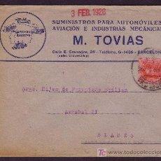 Sellos: ESPAÑA. (CAT. 317). 1926. SOBRE PUBLICITARIO AUTOMÓVILES DE BARCELONA. 25 CTS. MAT. FECHADOR.MAGFCO.. Lote 25083787