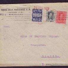 Sellos: ESPAÑA. (CAT.315,317A,AYTO.1).1929. SOBRE DE BARCELONA A BLANES. DORSO *GIRO POSTAL/GERONA/BLANES*.. Lote 25598606