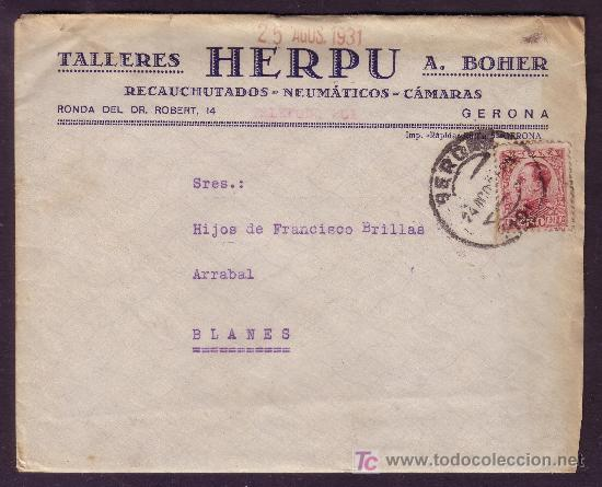ESPAÑA.(CAT. 496). 1931. SOBRE PUBLICIDAD(DORSO) AUTOMÓVIL *TALLERES HERPU* DE GERONA. RARO FRANQUEO (Sellos - España - Alfonso XIII de 1.886 a 1.931 - Cartas)