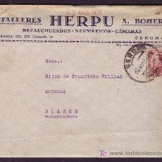 Sellos: ESPAÑA.(CAT. 496). 1931. SOBRE PUBLICIDAD(DORSO) AUTOMÓVIL *TALLERES HERPU* DE GERONA. RARO FRANQUEO. Lote 27371758