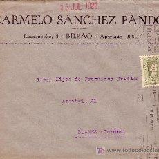 Sellos: ESPAÑA. 1929. SOBRE DE BILBAO A BLANES (GERONA). FRANQUEO DE IMPRESOS DE 2 CTS. VAQUER. BONITA.. Lote 23851800