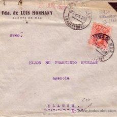Sellos: ESPAÑA. (CAT. 317). 1929. SOBRE DE ARENYS DE MAR (BARCELONA) A BLANES. SELLO RECOMPUESTO. MUY RARO.. Lote 25472751