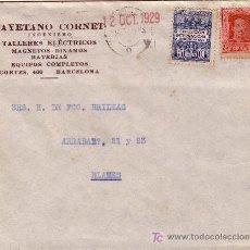 Sellos: ESPAÑA.1929.SOBRE PUBLICIDAD AUTOMÓVIL D BARCELONA. 25 C. Y AYTO. DORSO *GIRO POSTAL/BLANES/GERONA*.. Lote 24403542