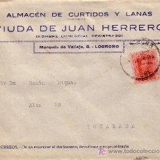 Sellos: ESPAÑA. 1926. SOBRE PUBLICIDAD PIELES Y LANAS DE LOGROÑO A IGUALADA. 25 CTS. MAT. FECHADOR. LLEGADA.. Lote 23979765