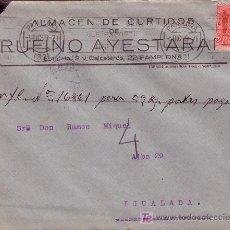 Sellos: ESPAÑA. 1929. SOBRE PUBLICIDAD PIELES DE PAMPLONA A IGUALADA. 25 CTS. MAT. RODILLO ACEITE DE OLIVA. Lote 26252507