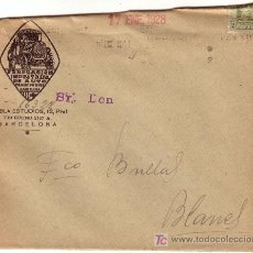 Sellos: ESPAÑA. 1928. SOBRE PUBLICIDAD AUTOMÓVIL DE BARCELONA A BLANES (GERONA). 2 CTS. IMPRESOS (A CABALLO). Lote 25083801