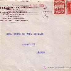 Sellos: ESPAÑA. 1929. SOBRE PUBLICIDAD AUTOMÓVIL DE BARCELONA A BLANES (GERONA). 25 C. Y AYTO. LLEGADA. BTA.. Lote 24223822