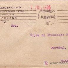 Sellos: ESPAÑA. 1926. SOBRE PUBLICIDAD AUTOMÓVIL DE BARCELONA A BLANES (GERONA). 25 CTS. PANFLETO INTERIOR.. Lote 22505140