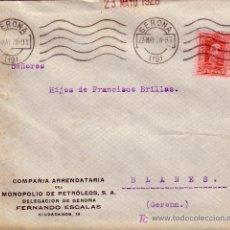 Sellos: ESPAÑA. 1928. SOBRE PUBLICIDAD PETRÓLEOS DE GERONA A BLANES. 25 CTS. MAT. RODILLO DE GERONA. LUJO. R. Lote 27231861