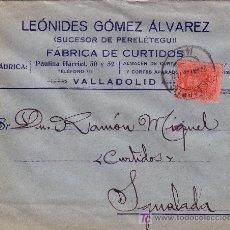 Sellos: ESPAÑA. 1926. SOBRE PUBLICIDAD PIELES DE VALLADOLID A IGUALADA. 25 CTS. MAT. FECHA. LLEGADA. BONITA.. Lote 22764855