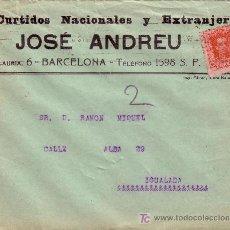 Sellos: ESPAÑA. 1926. SOBRE PUBLICIDAD PIELES DE BARCELONA A IGUALADA. 25 CTS. VAQUER. LLEGADA. BTA.. Lote 24796165