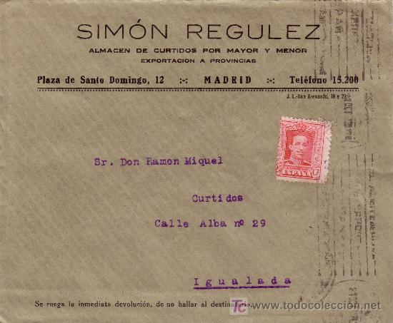 ESPAÑA. 1929. SOBRE PUBLICIDAD PIELES DE MADRID A IGUALADA. 25 CTS. MAT. RODILLO. LLEGADA. BONITO. (Sellos - España - Alfonso XIII de 1.886 a 1.931 - Cartas)