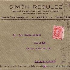 Sellos: ESPAÑA. 1929. SOBRE PUBLICIDAD PIELES DE MADRID A IGUALADA. 25 CTS. MAT. RODILLO. LLEGADA. BONITO.. Lote 24796162