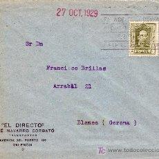 Sellos: ESPAÑA. 1929. SOBRE PUBLICIDAD TRANSPORTES DE VALENCIA A BLANES (GERONA). 2 CTS. IMPRESOS. RODILLO. Lote 23851865