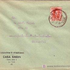 Sellos: ESPAÑA. 1929. SOBRE PUBLICIDAD ZAPATOS DE LUGO A IGUALADA. 25 CTS. MAT. LUGO. LLEGADA. MUY BONITA.. Lote 25333045