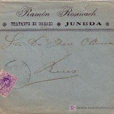Sellos: ESPAÑA. 1909. SOBRE PUBLICIDAD TRATANTE DE GANADO DE JUNEDA (LÉRIDA) A REUS. 15 CTS. LLEGADA. BTA.. Lote 25427229