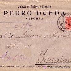 Sellos: ESPAÑA. 1926. SOBRE PUBLICIDAD ZAPATOS DE VITORIA A IGUALADA. 25 CTS. MAT. FECHA. LLEGADA. BONITA.. Lote 23219135