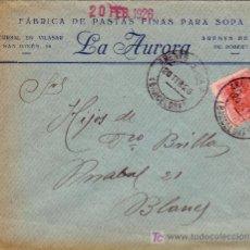 Sellos: ESPAÑA. 1926. SOBRE PUBLICIDAD ALIMENTACIÓN DE ARENYS DE MAR (BARCELONA). 25 C. MAT. FECHA. LLEGADA.. Lote 23813619