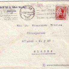 Sellos: ESPAÑA. 1930. SOBRE DE GERONA A BLANES. 25 CTS. MAT. RODILLO PUBLICITARIO *EL ACEITE DE OLIVA...*. R. Lote 27465675