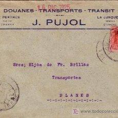 Sellos: ESPAÑA.1925.SOBRE PUBLICIDAD TRANSPORTES D LE PERTHUS(FRANCIA) A BLANES. TRÁNSITO LA JUNQUERA. LLDA.. Lote 26193534