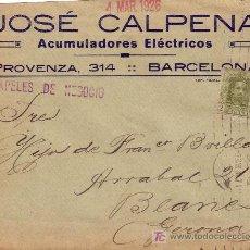 Sellos: ESPAÑA.1926.SOBRE PUBLICIDAD AUTOMÓVILES ACUMULADORES D BARCELONA/BLANES.2C.IMPRESOS.PAPELES NEGOCIO. Lote 23197229