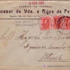 Sellos: ESPAÑA. 1928. SOBRE PUBLICIDAD JABONES DE BARCELONA A BLANES. RARO FRANQUEO DE 3 PORTES. LLEGADA. R.. Lote 22972264