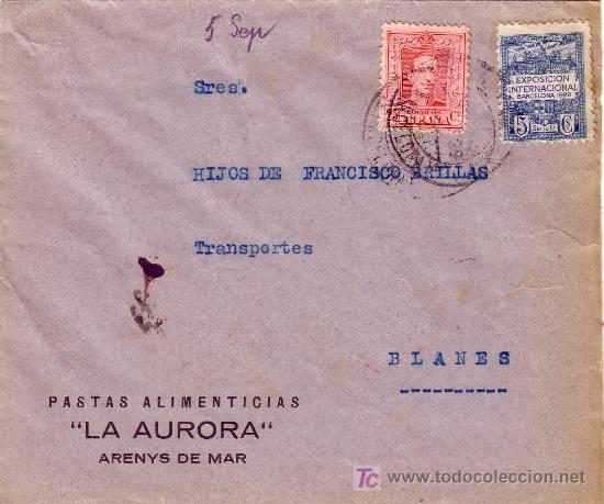 ESPAÑA. 1929. SOBRE PUBLICIDAD ALIMENTACIÓN DE ARENYS DE MAR (BARCELONA) A BLANES(GERONA).SELLO AYTO (Sellos - España - Alfonso XIII de 1.886 a 1.931 - Cartas)
