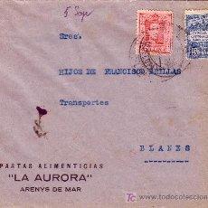Sellos: ESPAÑA. 1929. SOBRE PUBLICIDAD ALIMENTACIÓN DE ARENYS DE MAR (BARCELONA) A BLANES(GERONA).SELLO AYTO. Lote 24064017