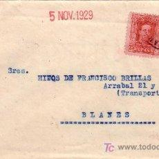 Sellos: ESPAÑA. 1929. SOBRE DE VILASAR DE MAR (BARCELONA) A BLANES (GERONA). 25 C. Y AYTO. USADO FUERA.RARA.. Lote 26233970