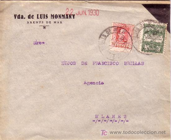 ESPAÑA. 1930. SOBRE LUTO DE ARENYS DE MAR (BARCELONA) A BLANES. 25 C. Y AYTO. RARO USADO FUERA. RARA (Sellos - España - Alfonso XIII de 1.886 a 1.931 - Cartas)