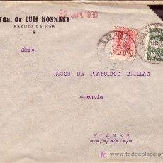 Sellos: ESPAÑA. 1930. SOBRE LUTO DE ARENYS DE MAR (BARCELONA) A BLANES. 25 C. Y AYTO. RARO USADO FUERA. RARA. Lote 26234107