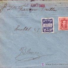 Sellos: ESPAÑA. 1929. SOBRE DE BARCELONA A BLANES (GERONA). 25 C. Y AYTO. DORSO *GIRO POSTAL/BLANES*. RARA.. Lote 26768540