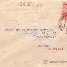 Sellos: ESPAÑA. 1930. SOBRE DE VILASAR DE MAR (BARCELONA) A BLANES (GERONA). 25 C. Y AYTO. USADO FUERA. RARA. Lote 25276667