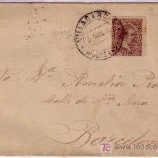 Sellos: ESPAÑA. 1899. SOBRE DE VILLAGARCIA A BARCELONA. 15 CTS. MAT. *VILLAGARCIA/PONTEVEDRA*. MUY BONITA.. Lote 24492556