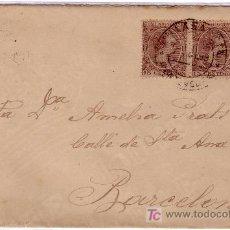 Sellos: ESPAÑA.1899.SOBRE DE VILLAGARCIA A BARCELONA.PAREJA 15 CTS.MAT.*VILLAGARCIA/PONTEVEDRA*.MUY BONITA.. Lote 24130296