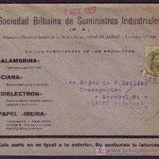 Sellos: ESPAÑA. (CAT. 310A). 1927. SOBRE PUBLICIDAD INDUSTRIAL DE DEUSTO (BILBAO). 2 CTS. IMPRESOS. RARO.. Lote 23396021