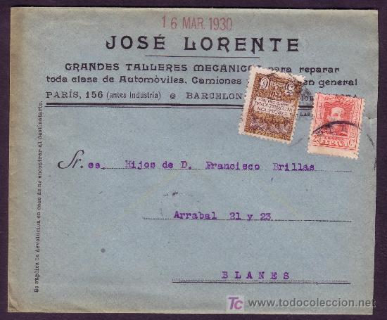 ESPAÑA. (CAT.317A,AYTO.3). 1930.SOBRE PUBLICIDAD AUTOMÓVILES DE BARCELONA. 25 CTS. Y 5 CTS. AYTO. R. (Sellos - España - Alfonso XIII de 1.886 a 1.931 - Cartas)