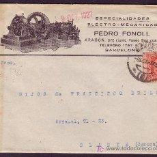 Sellos: ESPAÑA. (CAT. 317A).1927.SOBRE PUBLICIDAD AUTOMÓVILES * MOTORES * DE BARCELONA. 25 CTS. MUY RARO.. Lote 24817361