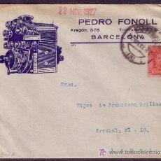 Sellos: ESPAÑA.(CAT.317A).1927.SOBRE PUBLICIDAD AUTOMÓVILES . ILUSTRACIÓN *MOTOR DE COCHE* DE BARCELONA. RR.. Lote 24817369