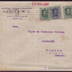 Sellos: ESPAÑA.(CAT.314(2),315).1926.SOBRE PUBLICIDAD AUTOMÓVILES *LANCIA* DE BARCELONA.RARO FRANQUEO. BTO.. Lote 24680958
