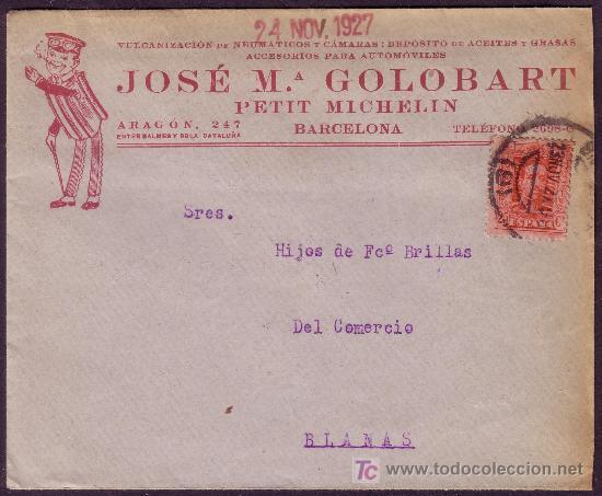 ESPAÑA.(CAT. 317).1927. SOBRE PUBLICIDAD AUTOMÓVILES DE BARCELONA. 25 CTS. VAQUER. MAGNÍFICO Y RARO. (Sellos - España - Alfonso XIII de 1.886 a 1.931 - Cartas)