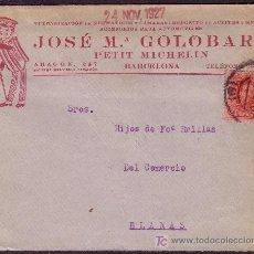 Sellos: ESPAÑA.(CAT. 317).1927. SOBRE PUBLICIDAD AUTOMÓVILES DE BARCELONA. 25 CTS. VAQUER. MAGNÍFICO Y RARO.. Lote 24754446