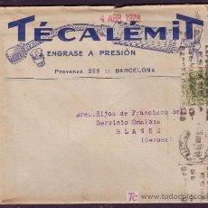 Sellos: ESPAÑA. (CAT. 310A). 1928. SOBRE PUBLICIDAD AUTOMÓVILES DE BARCELONA. 2 CTS. IMPRESOS. MUY RARO.. Lote 24730632