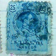 Sellos: ALFONSO XIII MEDALLON 25C. AZUL . Lote 27136630