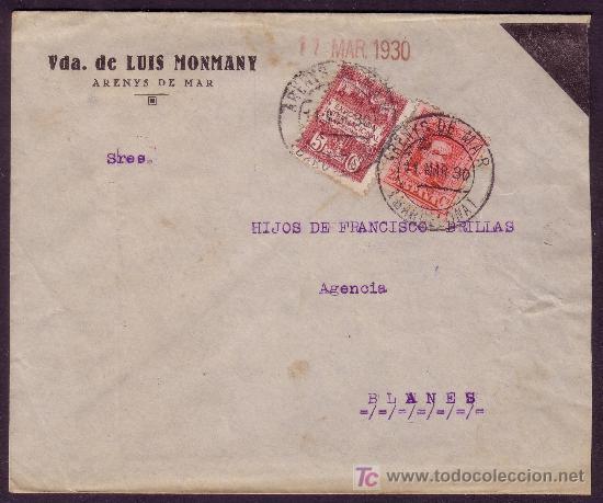ESPAÑA.(CAT.317A,AYTO.2).1930.SOBRE LUTO.25 Y 5 CTS.MAT. *ARENYS DE MAR/BARCELONA*.MAGNÍFICA Y RARA. (Sellos - España - Alfonso XIII de 1.886 a 1.931 - Cartas)